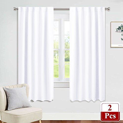 PONY DANCE Window Curtain Panels - Bedroom Drapes Room Darkening Blinds Back Tab & Rod Pocket Top Window Treatments Energy Saving Home Decor for Living Room, 42