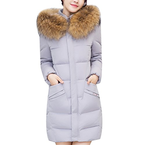 Gray Long Big Chic Padded Ladies Zhhlinyuan Hiver Cotton Fashion et Outwear élégant Lined Coats Collar Down Jackets wanqAP4XTn