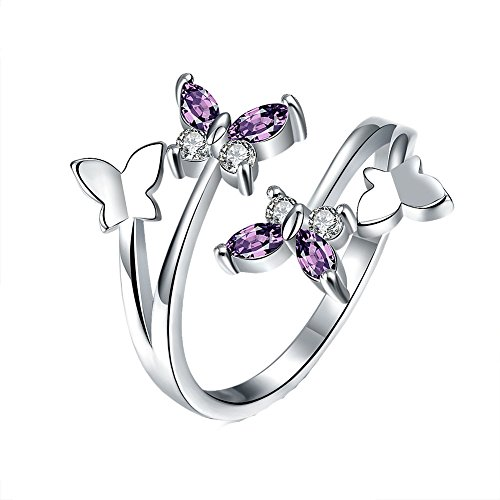 YEAHJOY Women's Adjustable Size Volly Open Rings Butterfly Shape Purple Austrian Crystals Rings (platinum-plated)