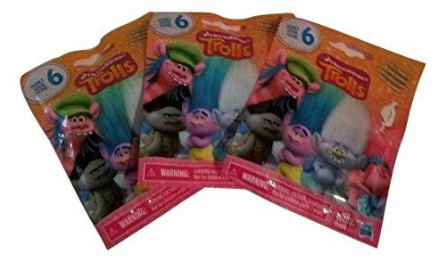 Set of 3: DreamWorks Trolls Surprise Mini Figure Series 6 Blind Bag - Each Package includes 1 Mini -