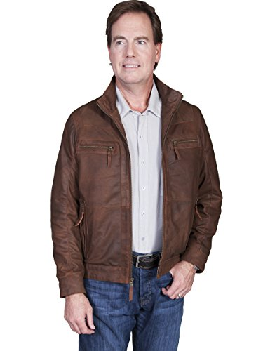 Lambskin Zip Front Jacket (Scully Men's Lambskin Zip Front Jacket Brown XX-Large)