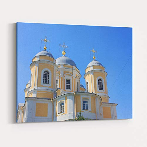 Rosenberry Rooms Canvas Wall Art Prints - St Vladimirs Orthodox Cathedral in Saint Petersburg, Russia Neoclassical Architecture of Old Russian Church Building Exterior On Summer Day, (24 x 16 inches)