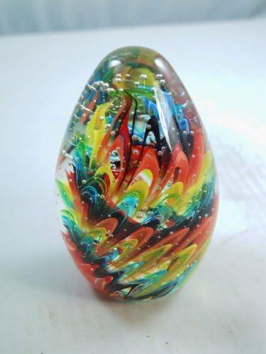 M Design Art Blown Rainbow Color Layer Swirls Egg Glass Paperweight Kitchen