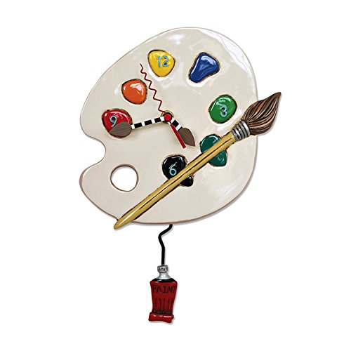 """Allen Designs """"Art Time"""" Whimsical Artist Palette Pendulum Wall Clock ,13x8.5 inches ,White, Red  from Allen Designs"""