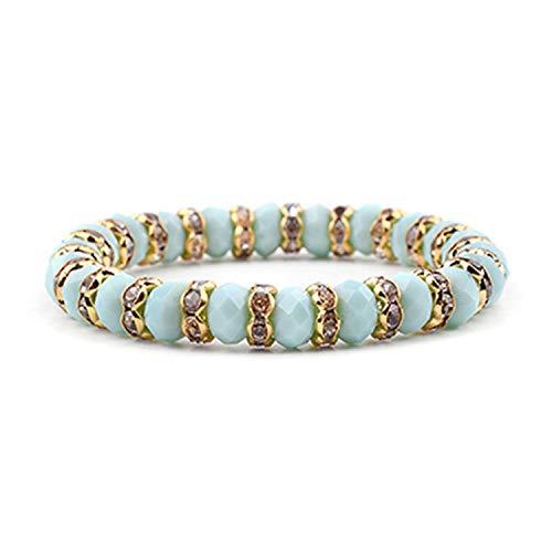 Elastic Gold Gunmetal Silver Rondelle Beads Crystal Bracelets for Women Black White Blue Mint Yellow Purple Bracelet Mint Gold