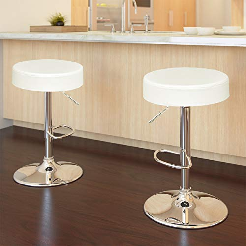 COSTWAY Swivel Bar Stool Round PU Leather Height Adjustable Chair Pub Stool w/Chrome Footrest (White, 1 pc)