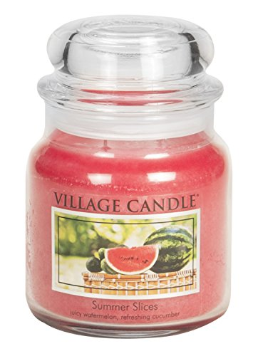 Watermelon Scented Jar Candles (Village Candle Summer Slices 16 oz Glass Jar Scented Candle, Medium)