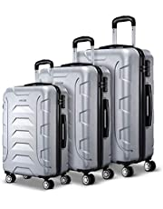 Wanderlite 3 Pcs Lightweight Luggage Hard Suitcases and Scale, Silver