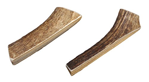 Small, Split, Twin Pack - Grade A Premium Elk Antler Chews for 10-20 lb Dogs - Naturally shed from Wild elk - No Mess, No Odor - Made in The USA ()