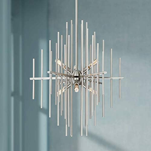 Tovia Brushed Nickel Chandelier 20″ Wide Mid Century Modern Metal Rod 6-Light Fixture