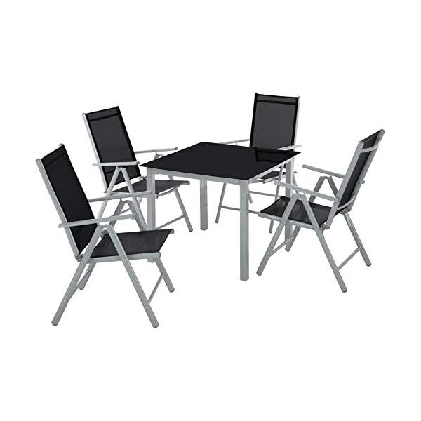 TecTake Alluminio set mobili da giardino 4+1 tavolo sedie pieghevole arredo esterno - disponibile in diversi colori… 1 spesavip