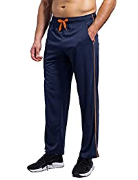 HUAKANG Mens Sweatpants with Zipper Pockets Quick Dry Workout Pants Open Bottom Athletic Pants
