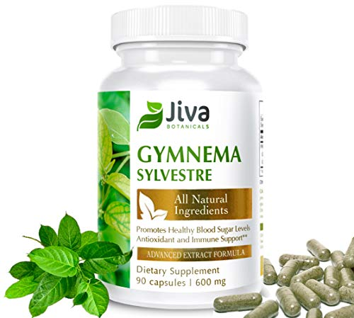 Gymnema Sylvestre - 600mg - Sugar Blocker. Advanced Extract Formula Blood Sugar Stabilizer (90 Veg Capsules) - by Jiva Botanicals (Gymnema Sylvestre Powder)