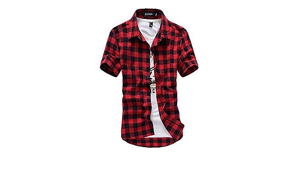 Camisa a Cuadros roja y Negra 2019 para Hombre de Manga Corta ...