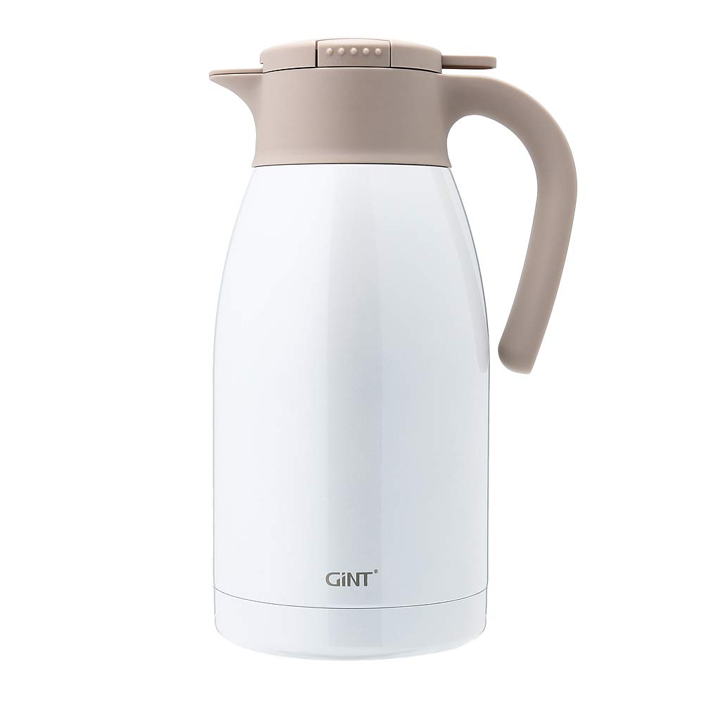 GiNT Stainless Steel Thermal Coffee Carafe with Lid/Double Walled Vacuum Thermos / 12 Hour Heat Retention,1.9L, White