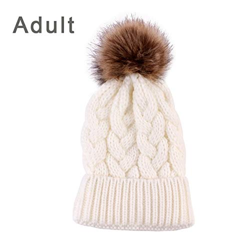 50658182ed11ff World 2 home 5Colors Mom and Baby Hat with Pompom Warm Raccoon Fur Bobble  Beanie Kids Cotton Knitted Boy Girls Hat Winter Caps Xmas Gift: Amazon.in:  ...