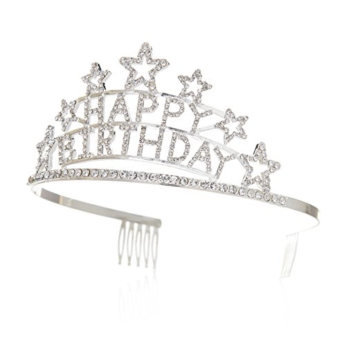 SWEETV Crystal Birthday Tiara Rhinestone Princess Crown Happy Birthday Crowns with Comb, Girls & Women