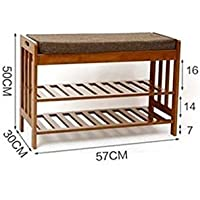 Changing shoes stool Storage Solid wood Clamshell Sofa stool [shoebox] Shoes stool,Environmentally Friendly And Durable-brown 573050cm