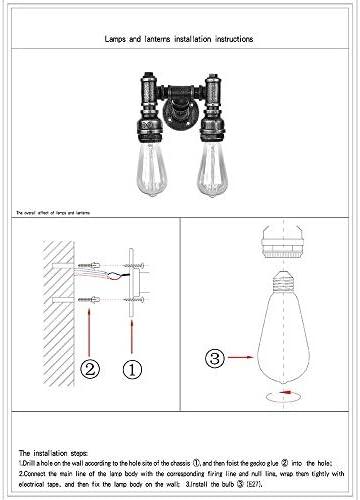 Antieke Wandlamp 2-Lichts Industriële Wandkandelaars Waterpijp Wand Verlichtingsarmaturen E27 Lichtfitting voor Bar Restaurant Hotel Hal Eetkamer [Energieklasse A ++]