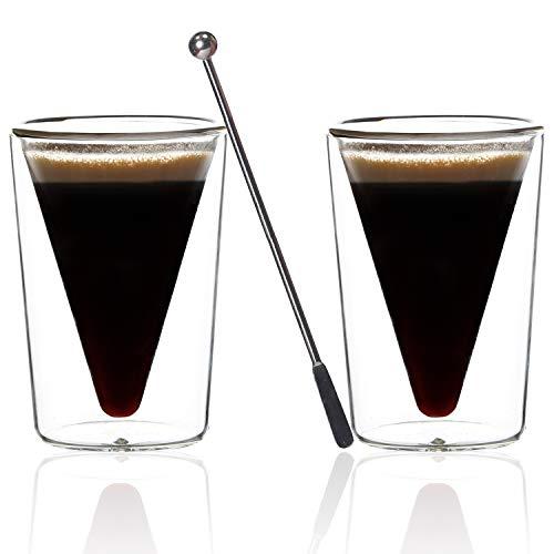 VESPESO Double Wall Espresso Cups Set of 2 - Thicker Thermo Insulated 3 Ounce Borosilicate Shot Glasses - Plus Steel Stirrer