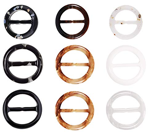 16PC Scarf Rings Clip Round Plastic T-shirt Clips for Twilly Neckerchief- 2 inches, 8 -