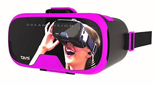 Tzumi Dream Vision Prp Virtual Reality Headset,Built-in Control Pad&Retracteable Ear Buds with Mic for phone Calls,fits all phones up to 6 inch, 360 Video Capability, Works with all VR app Pink by Tzumi (Image #1)
