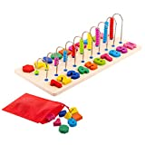 Toy To Enjoy Wooden Number Puzzle with Beads & Shapes - Stacking Montessori Sorting Toy for Early Learning - for Age 3 to 5 Kids & Toddlers - Chunky Jigsaw Pegboard - Number Learning Board Toys