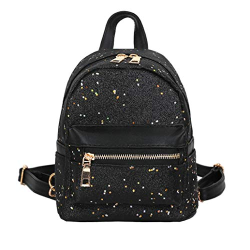 Shoulder Backpack Crossbody Fashion Black Mini School Girls Sequin for Adult Packable Sling Bag Lolittas Gold Lightweight Small Women w7vEOqU