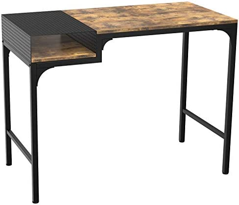 IRONCK Industrial Computer Desk, 39 Office Desk with Metal Shelf and Stable Metal Frame, Simple Study Table, Industrial Style Writing Study Table for Home Office