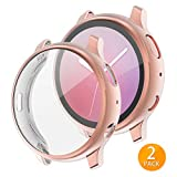 Tensea Compatible with Galaxy Watch Active2 Case, 2 Packs Soft TPU Bumper Full Around Screen Protector Cover for Samsung Galaxy Watch Active 2 40mm (Rose Gold, 40mm)