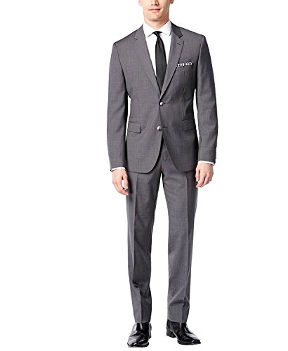 Hugo Boss 2 Button Flat Front 2 Piece Men's Suit 100% Italian Virgin Wool C-Jeys1/C-Shaft1 50326192-010 Micro Check Dark Grey by Hugo (40 Regular USA Jacket/34 Waist Pants) Hugo Boss Two Button Suit