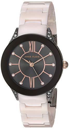 - Anne Klein Women's AK/2389GYLP Swarovski Crystal Accented Gunmetal and Blush Pink Ceramic Bracelet Watch
