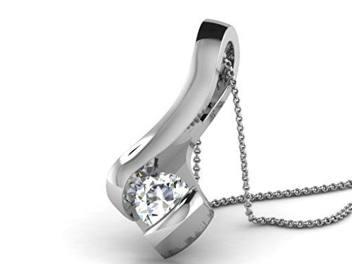 Or Blanc 9 ct Pendentifs Diamant solitaire, 0.2 Ct Diamant, GH-SI, 0.85 grammes.