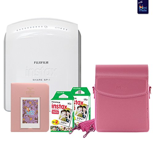 Fujifilm instax SHARE SP-1 Smartphone Printer With Fujifilm instax Mini Twin Pack Instant Film (40 Sheets) + Fashionable Photo Album + Custom Case (pink) by MiniMate