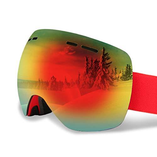 Anteojos de esquí para hombres y mujeres, antiniebla, a prueba de viento, antirreflejos, adecuados para esquiar, hacer snowboard, andar en moto de nieve y otros deportes de invierno (tamaño: 95 * 180