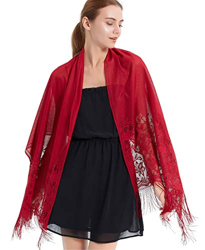 Women's Floral Lace Mesh Party Prom Wedding Shawl Scarf with Fringe