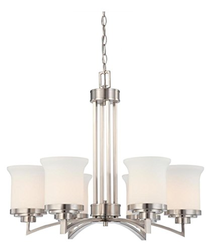 Harmony - 6 Light Chandelier W/Satin White Glass