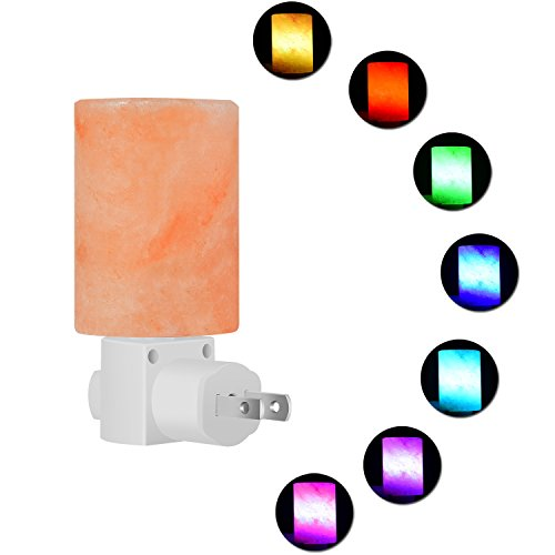 LURAD Mini Hand Carved Natural Himalayan Salt Lamp Crystal Salt In Nightlight with Incandescent Bulb and Multi LED Color Changing Bulb, UL-Approved Wall Plug for Air Purifying