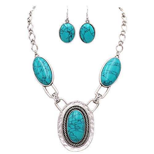Rosemarie Collections Women's Southwestern Style Oval Turquoise Concho Statement Necklace Earrings Set