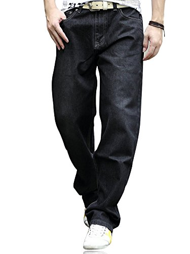 YOYEAH Men's Fashion Soft Relaxed Fit Straight Leg Jeans 36 Black