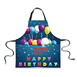 "iPrint Custom Apron,37th Birthday Decorations,Cheerful Event with Balloons Middle Age Occasion Illustration,Multicolor,Home Apron.29.5""x26.3"""