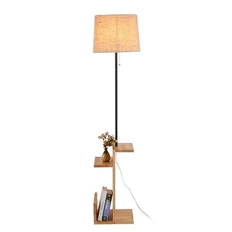 QEGY lampara pie con estante, Lámpara de Pie LED 7W - Luz de ...