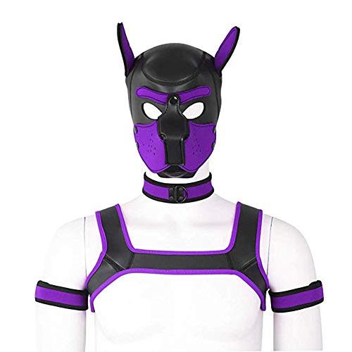 4 Set 2 Size Neoprene Puppy Hood Custom Animal Head Mask Novelty Costume Dog Hood Mask,Collar,Armband And Harness (Purple, L)