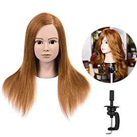 Natural Secret 100% Human Hair Mannequin Head With Auburn Brown Human Hair Styling Dye Cutting Hairdresser Training Head Manikin Cosmetology Doll Head 20-22″(From Forehead To the back hair end)