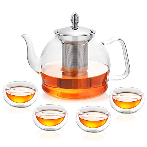 (Hiware Teapot Set, 35 Oz Glass Teapot with Removable Infuser and Cups, Stovetop Safe Tea Kettle, Blooming and Loose Leaf Tea Maker Set)
