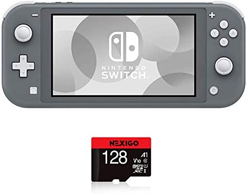"Nintendo 2020 Switch Lite Console Family Christmas Holiday Bundle - Gray, 5.5"" Touchscreen Display, Built-in Plus Control Pad, Speakers, WiFi, Bluetooth 4.1, NexiGo 128GB MicroSD Card Bundle"