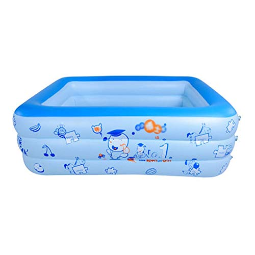Szblk Inflatable Pool Paddling Pool Children's Pool Home Pool PVC Swimming Pool 3 Layer Lovely Swimming Pool (70.86in55.11in23.62in)