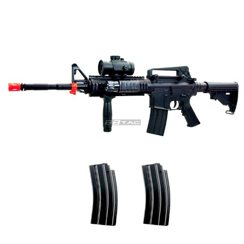 BBTac M83 Full Auto Electric Power Airsoft Gun LPEG/250 FPS/Red Dot Sight/Flash ()