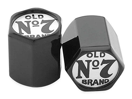 Jack Daniels 106-239 Old #7 Valve Stem Cover - Black/Chrome