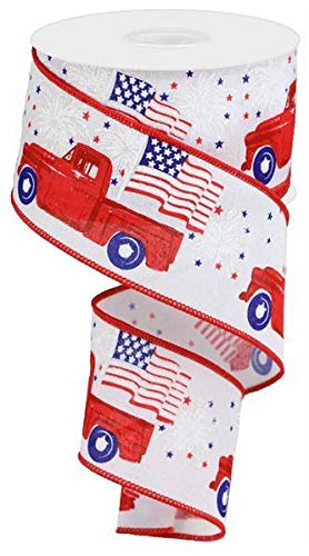 Patriotic Pickup Truck Wired Ribbon - 2 1/2